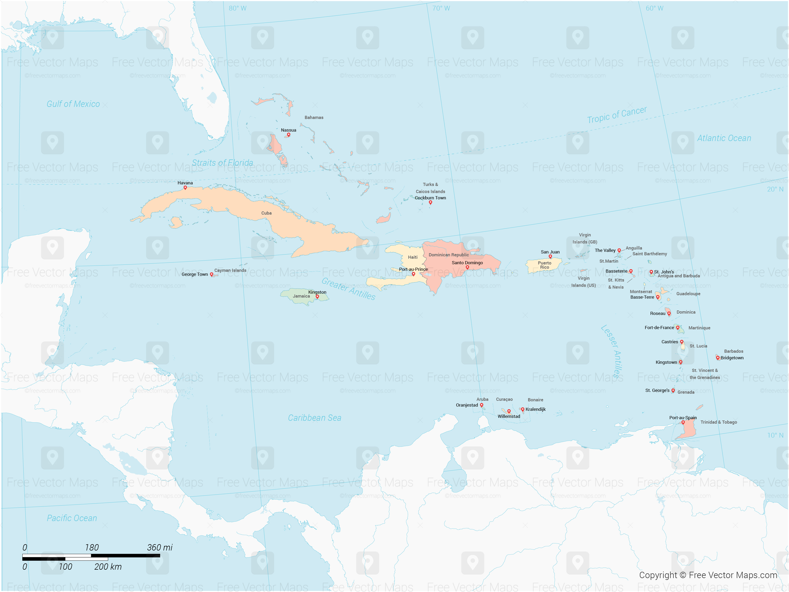 Vector Map Of Caribbean Islands With Countries Multicolor Free - Map of the caribbean islands